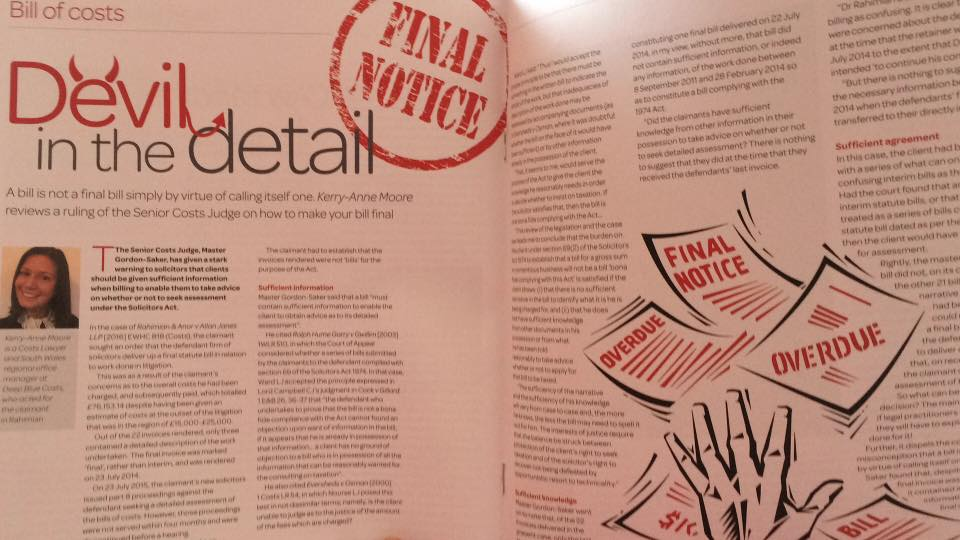 Kerry-Anne Moore of our South Wales Office features in this month's Costs Lawyer Magazine